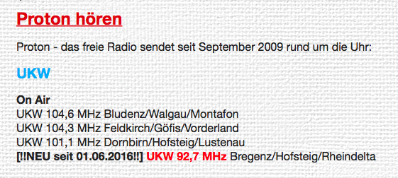 Radio Proton Frequenz